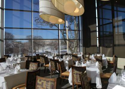 When set with square tables for four, the Boylston Room has a seated capacity of 40