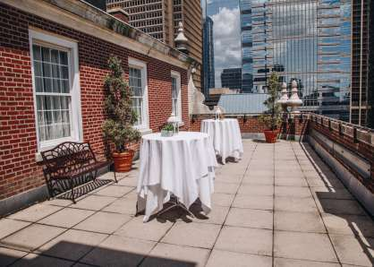 The Skyline Patio can be set with cocktail tables to hold 35 guests