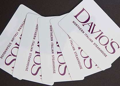 Five Davio's gift cards fanned out