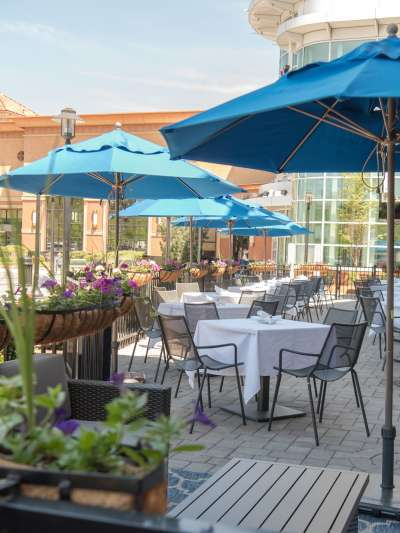 Aqua sun umbrellas and wrought iron planters of purple petunias adorn the large, sunny patio at Davio's Braintree