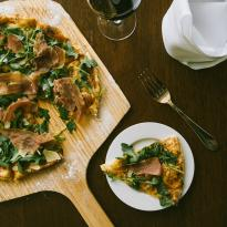 Prosciutto Pizza, Fig Jam, Arugula, Caramelized Onions