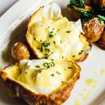 Poached Eggs, Brunch Potatoes, Popover, Hollandaise