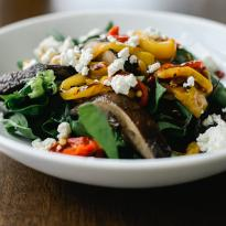 Salad with Warm Spinach, Roasted Peppers, Portobellos, Goat Cheese, Balsamic