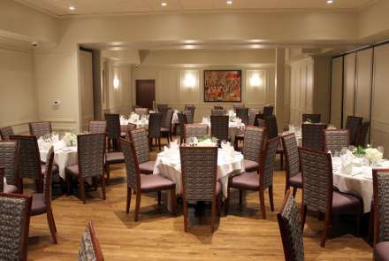 Combined rooms seat up to 125 people or hold 150 for a reception