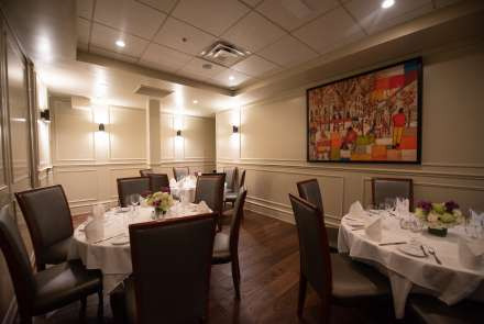 When set up with round tables, the Jamboree Room seats up to 24