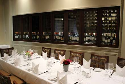 The Wine Room, which features a view into Davio's wine cellar along one wall, holds 20 for a seated dinner with a single long table