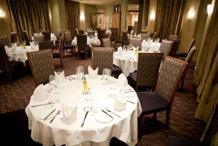 The Chestnut and Arlington rooms combine to seat 80 people for a seated dinner.